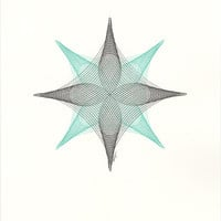 """Art, Original Ink Drawing, """"Twin Quasar"""" Abstract Geometric Modern Line Drawing, Choose Color, Made to Order 11x14"""