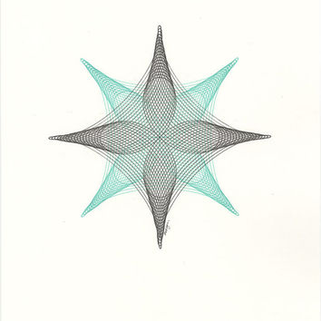 "Art, Original Ink Drawing, ""Twin Quasar"" Abstract Geometric Modern Line Drawing, Choose Color, Made to Order 11x14"