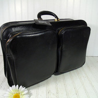 Retro Black Vinyl Leatherette & Brass Zippers Expanding Weekend Valise - Vintage Crescent Soft Sided Naugahyde SuitCase - CarryOn Travel Bag