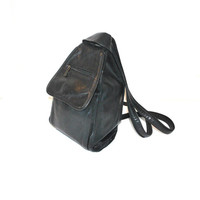 80s leather backpack / vintage black leather TRIANGLE slouchy minimalist book bag