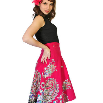 Vintage Wraparound Skirt. Beach Coverup Hot Pink Black Turquoise White. High Low Skirt. Cotton Skirt. Seeshore Vacation. Paisley
