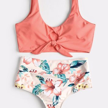 Sexy Swimsuit High Rise Knotted Floral Scrunch Bikini Set Swimwear Scoop Neck Padded Bathing Suit Beach Suit For Women