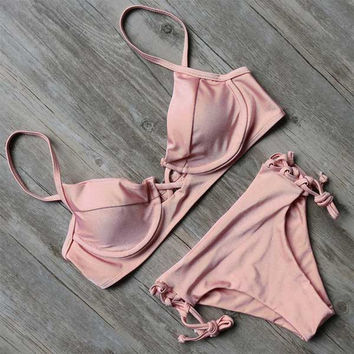 Peach Charlise Tied-Up Bikini