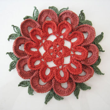 Crochet Doily - Red Christmas Table Centerpiece Tablecloth Modern Poinsettia Placemats Unique Gift