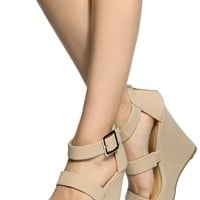 Nude Faux Nubuck Multi Strap Wedges @ Cicihot Wedges Shoes Store:Wedge Shoes,Wedge Boots,Wedge Heels,Wedge Sandals,Dress Shoes,Summer Shoes,Spring Shoes,Prom Shoes,Women's Wedge Shoes,Wedge Platforms Shoes,floral wedges