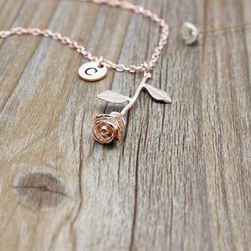 Rose Letter Necklace