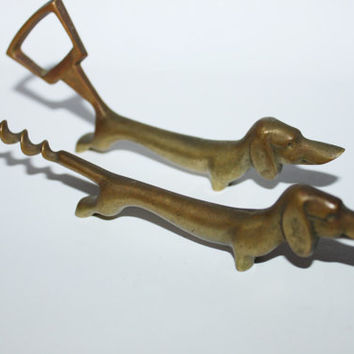 Vintage Brass Dachshund Bottle Opener & Corkscrew Set