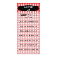 Retro Tablecloth Red Gingham Cafe Menu