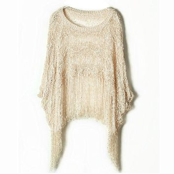 Plus Size Batwing Sleeve Scarf Tassels Round-neck Pullover Knit Tops Sweater [9108917383]
