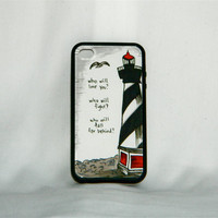 Crushed Veneer, iPhone 4/4S case, Bon Iver song quote, Skinny Love, light house, lyric, lighthouse, black, white, gray, sea, indie, hipster