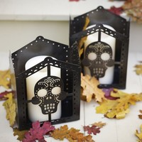 Punched Metal Skull Luminary