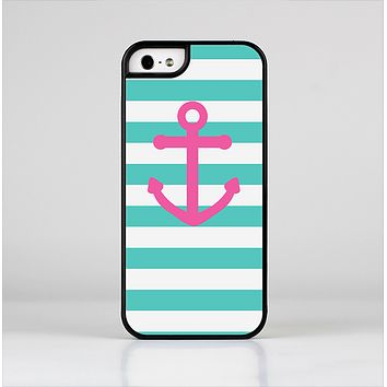 The Teal Striped Pink Anchor Skin-Sert Case for the Apple iPhone 5/5s