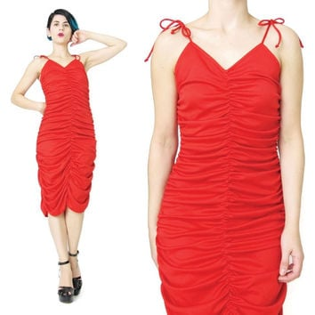 1970s Red Disco Dress Ruched Dress Red Jersey Dress Stretchy Bodycon Dress Fredericks of Hollywood Dress Sexy Red Party Dress Studio 54 (S)