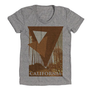 California Womens Athletic Grey T Shirt - Graphic Tee - Clothing - Gift