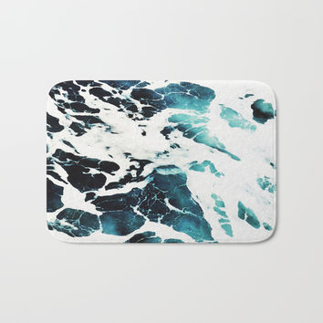 Dark Ocean Waves Bath Mat by cadinera