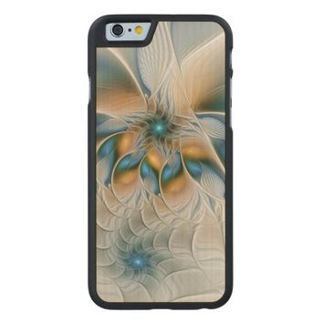 Soaring, Abstract Fantasy Fractal Art With Blue Carved® Maple iPhone 6 Case