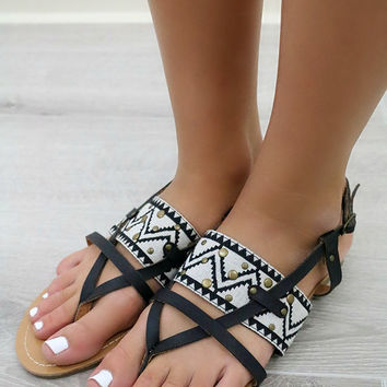 Mohican Tribal Print Flat Black Sandals