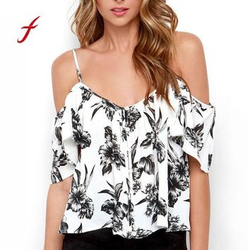 Feitong Backless spaghetti strap floral chiffon blouse Women sexy off shoulder summer tops Ladies fashion v neck ruffles shirt