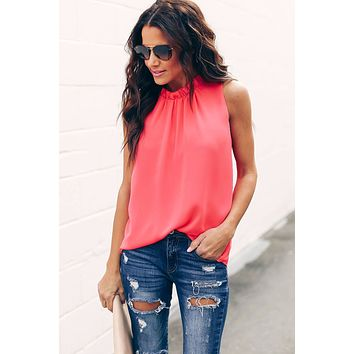 Chic Red Ruffle Trim Neckline Tank Top