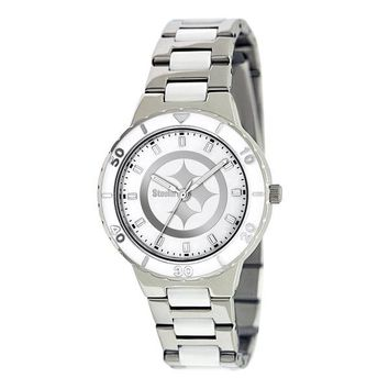 Pittsburgh Steelers Ladies Quartz Analog Watch With Silver Round Case Silver Bracelet 35.9Mm Pearl