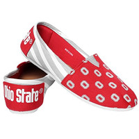 NCAA Ohio State Buckeyes Women's Canvas Stripe Shoes, Large (9-10), Red