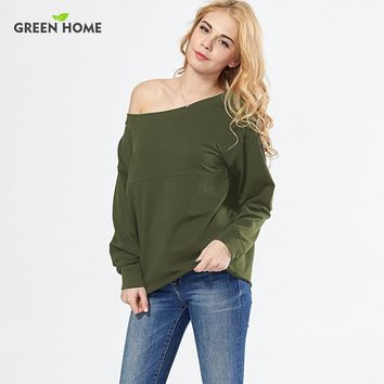 Green Home Sexy Off Shoulder Nursing Tops Maternity Clothes Breastfeeding Sweatershirt Fashion Lactancia Tops Pregnancy Clothing