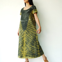 NO.109   Olive and Mustard Green Cotton Jersey Tie-Dye Tee Shirt Dress