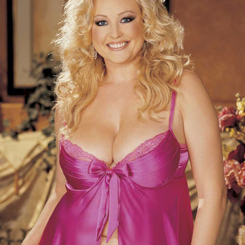 Beautiful Plus Size Charmeuse and Lace Babydoll