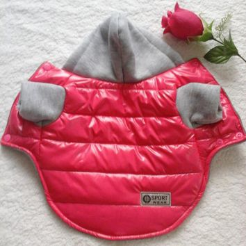 Puppy Dog Clothes Jacket Coat Thickening Winter Warm With Hood 4 Colors