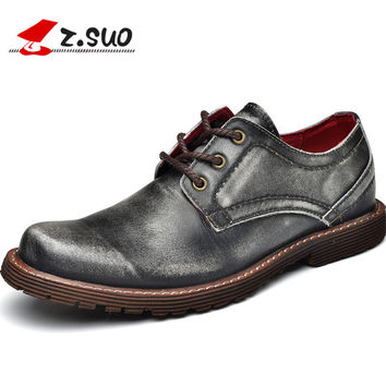 Z. Suo men's boots, silver lace business real leather boots, casual fashion first layer of leather shoes.Zapatos de cuero zs2311