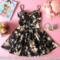 Alexa Floral Retro Bustier Dress with Adjustable Straps – Size S/M - Smoky Mountain Boutique