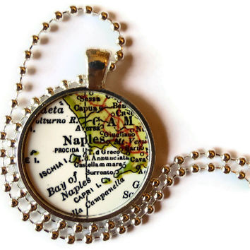 Naples Italy necklace pendant charm, Italian Jewelry, Italian necklaces, Italy map jewelry