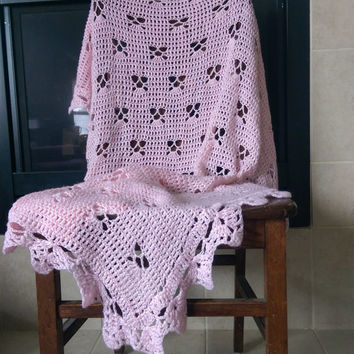 "Crochet Baby Blanket Heirloom Handmade Afghan Throw Baby Girl Blanket Pattern Pink Butterfly 37"" X 44"" butterflies"