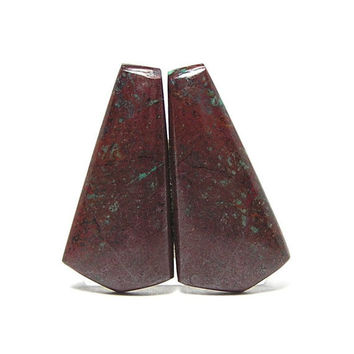 Arizona Red Copper Cuprite Stone Matrix Matched Cabochon Earring Pair 16 cts total