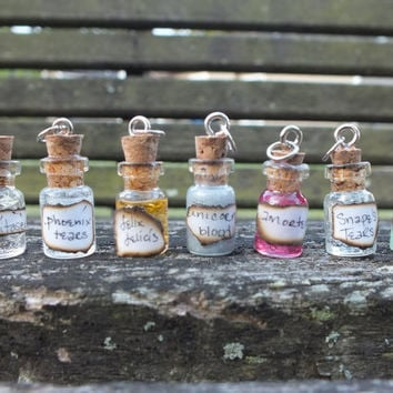 Full set of 7 Miniature Potion Charm w/handmade labels
