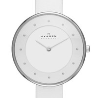Women's Skagen 'Gitte' Round Slim Leather Strap Watch, 38mm
