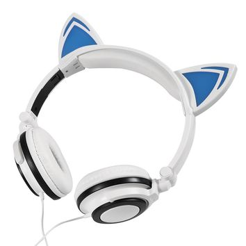 2017 Gaming Headphones Cat Ear Creatives Luminous Earphone Foldable Flashing Glowing Gaming Headset with LED light For PC Laptop