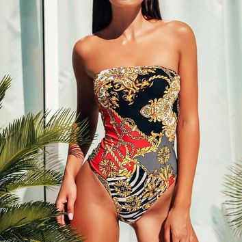 Summer New Fashion Retro Print Strapless One Piece Bikini Swimsuit