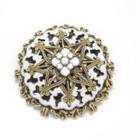 Milk Glass Brooch with Enamelling, Brass, Mid Century 1940s Vintage Jewelry WINTER SALE
