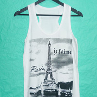 France Gift Top tank Eiffel tower Shirt Ladies Teen  tank top size S M L XL Eiffel tower tank White  singlet sleeveless/ fashional clothing
