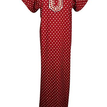 Mogul Interior Womens Maxi Dress Caftan Neck Embroidered Cotton Boho Summer Front Botton Nightgown L