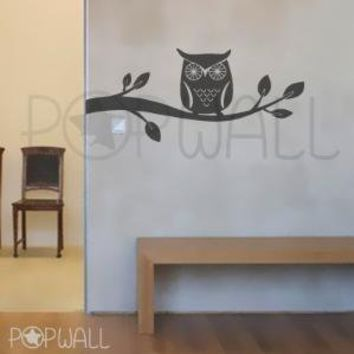 Owl on Branch  047 Vinyl Wall Decal Sticker by NouWall on Etsy