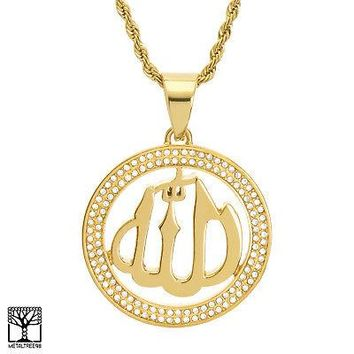 """Jewelry Kay style Men's Stainless Steel Allah Sign Medallion Pendant 24"""" Chain Necklace SCP 885 G"""