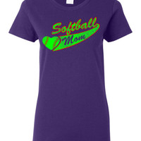 Softball Mom custom t shirt, with a girls softball color and red distressed design FREE SHIPPING