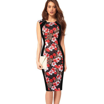 Print Sleeveless Bodycon Scoop Knee-length Dress