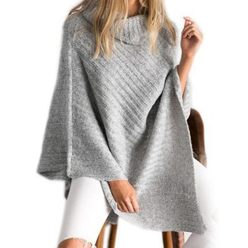 2017 New Fashion Design Style Scarf Women High Collar Poncho For Female Cotton Knitted Scraves Irregular Warm Winter Shawl Capes