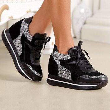 Black Round Toe Flat Sequin Cross Strap Fashion Shoes