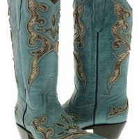 Cowboy Professional - Womens Engraved Genuine Turquoise Leather Cowboy Boots With Python Snip Toe Size 5.5