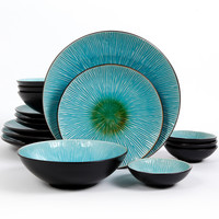 Gibson Shangri-La Court Turquoise Double Bowl 16-Pc. Set, Service for 4