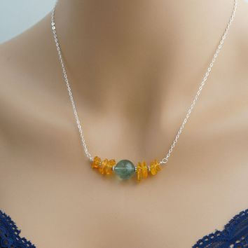 Natural Amber Necklace - Sterling Silver Green Fluorite Choker - Stone Bar Amber Choker - Fluorite Jewelry Heart Chakra Healing